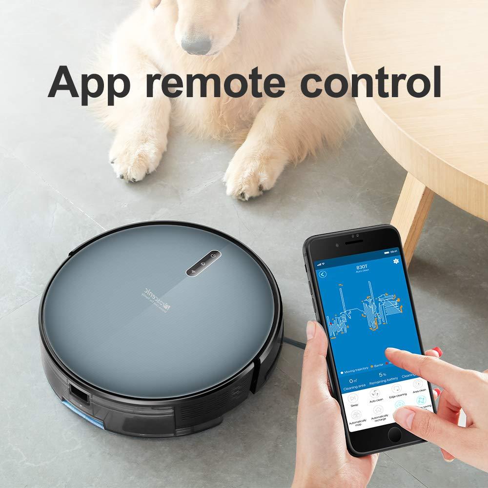 Robot Aspirapolvere Proscenic 830T con APP & Alexa, Lavapavimenti 2-in-1, Serbatoio dell'Acqua Elettrico, Controllo Telecomando per Pulizia Domestica/Peli Animali/Capelli/Polvere