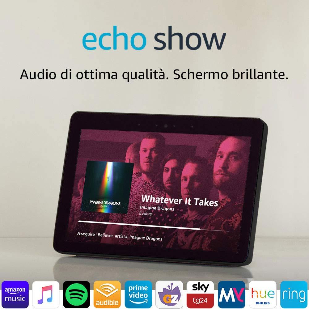 Echo Show (2ª generazione) – Audio di ottima qualità e brillante schermo HD da 10