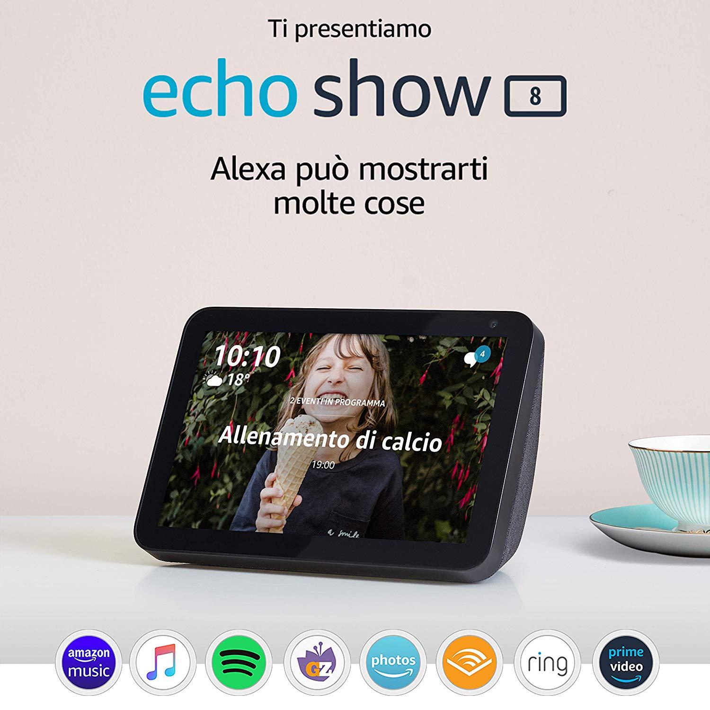 """Echo Show 8 – Schermo intelligente HD da 8"""" con Alexa"""