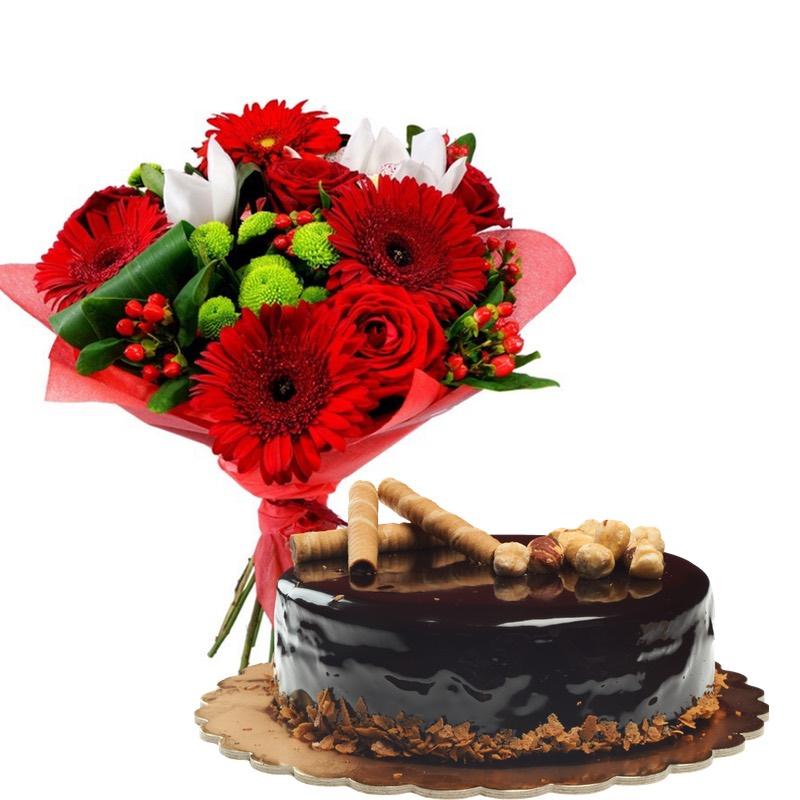 Fiori misti rossi e torta cioccolato